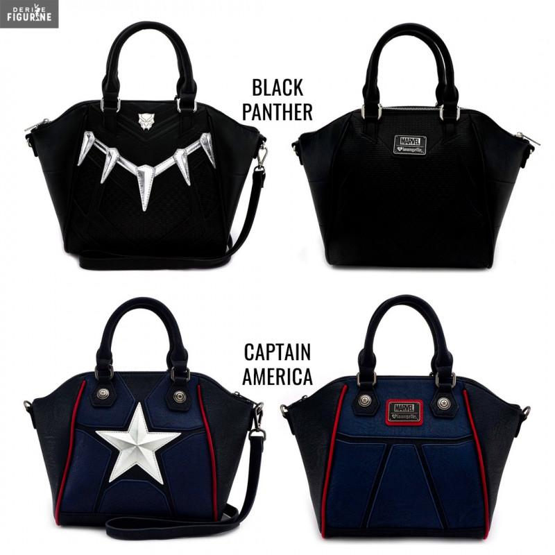 c6dbf47f5b Sac à main officiel au choix entre Black Panther ou Captain America en cuir  synthétique mesurant environ 27x37x10 centimètres. Le fabricant est  Loungefly.