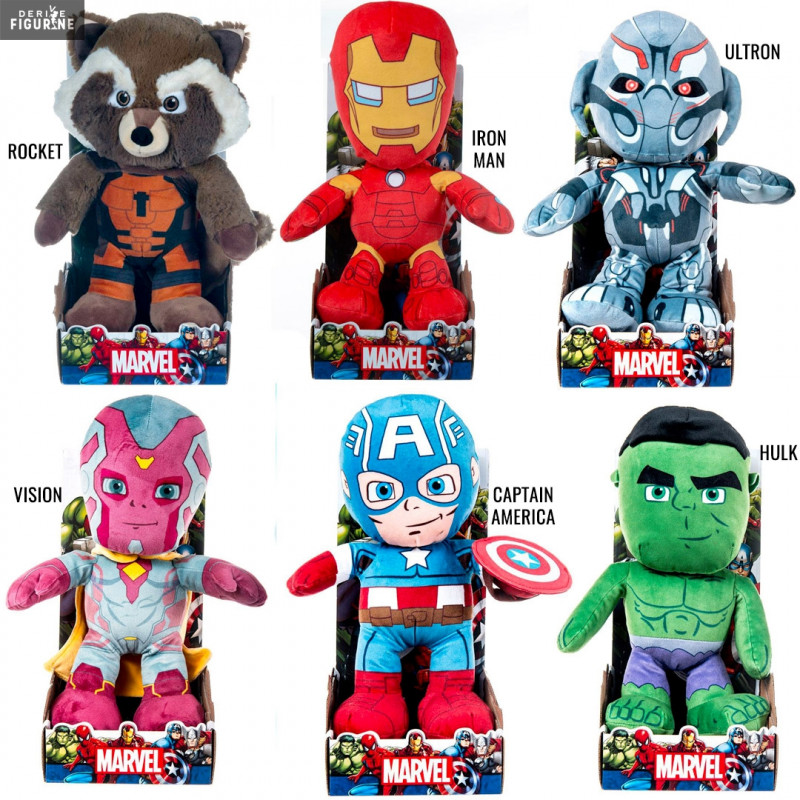 new style a1d49 cb2fc Peluche Rocket, Captain America, Vision, Iron Man, Hulk ou Ultron - Marvel,  Avengers - Play by Play