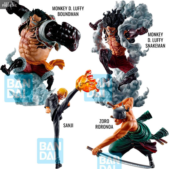 Sanji Zoro Luffy Gear 4 Boundman Or Snakeman Battle Memories Figure Ichibansho One Piece Bandai His body changes with a ballooned torso covered with tribal like markings and coated with busoshoku haki. one piece sanji zoro luffy gear 4 boundman or snakeman battle memories figure ichibansho