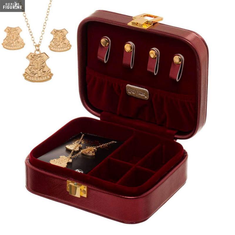 Pack avec une boîte à bijoux, un collier et une paire de boucles d\u0027oreilles  de Poudlard. Le fabricant est Bioworld.